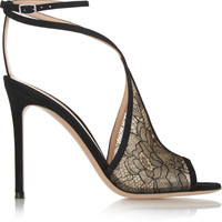 Gianvito Rossi - Suede-trimmed Chantilly lace sandals