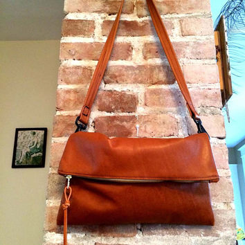 Brown Leather Clutch , Fold over Clutch , cross body bag , Camel Brown leather cross body clutch