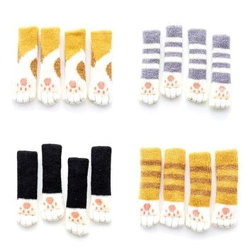 4pcs /set 2018 Cute Cat Paw Table Chair Foot Leg Knit Cover Protector Socks Sleeve Protector 4 Colors