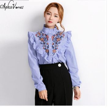 Fashion floral embroidery ruffles blouse autumn striped cotton causual loose ladies shirts embroidered pattern women
