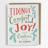 Comfort & Joy & Cookies & Bourbon Funny Holiday Card