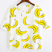 White Banana Printed Loose T-Shirt