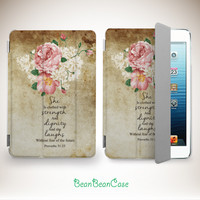vintage flower rose floral art smart cover case for iPad mini case, new iPad mini retina 2 case, iPad Air case, proverbs 31:25 (K33)