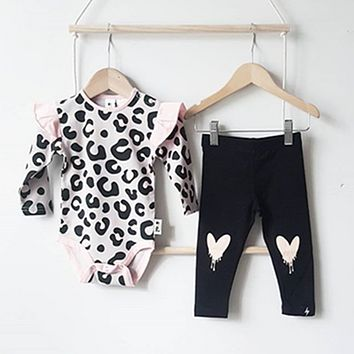 US Newborn Infant Baby Girls Clothes Leopard Romper Pants Outfits Autumn Winter