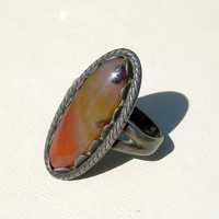 Vintage Bell Trading Post Moss Agate Ring Sterling Silver Sign Post Hallmark Size 6