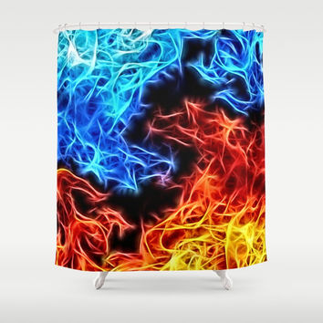 Eternal fight, flames of Good and Evil, blue and red fire pattern, abstract energetic heat theme Shower Curtain by Casemiro Arts - Peter Reiss