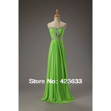 Stocked Lime Green Sexy Prom Dress Sequined Sweetheart Floor-length Chiffon Long Prom Dress
