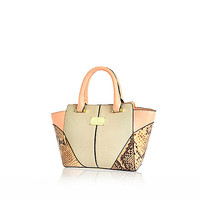 River Island Orange winged snake print tote bag