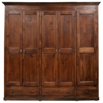 Monumental French Louis Philippe Period Cherry Placard or Wardrobe