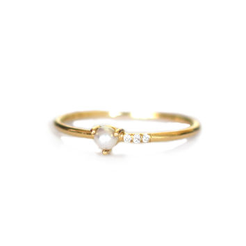 14kt Gold Pearl and Diamond Mirage Ring