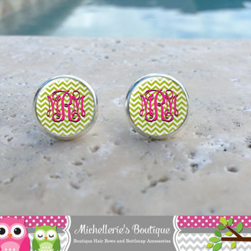 12mm Lime and Hot Pink Chevron Monogram Earrings, Monogram Jewelry, Monogram Accessories, Monogram Studs, Monogram Leverback, Monogram Gifts