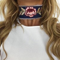 Wild Thing Choker in Dark Denim