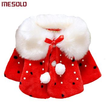 Autumn Winter Baby Girls Faux Fur Pearls Fleece Lapel Collar Infant Kids Outerwear Princess Jacket Coats