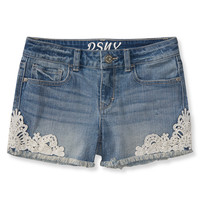PS from Aero  Kids' Medium Wash Crochet Denim Shorty Shorts