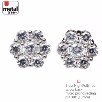 Jewelry Kay style Men's Bling Iced Out Hexagon Brass Silver Plated 10mm Screw Back Earrings 995 S