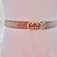 Gucci belt, Gucci logo belt, leather belt, brown leather belt, gold buckle, size medium, bohemian belt, thin leather belt, vintage belt,
