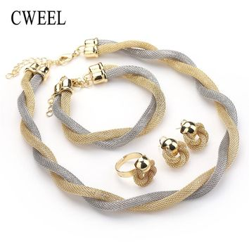 CWEEL Jewelry Set For Women African Beads Jewelry Set Wedding Twist Weave Choker Necklace Bridal Dubai Ethiopian Jewellery Sets
