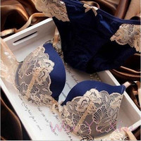 Fashion Lace Lingerie Push Up Bra And Panty Set = 1932853764