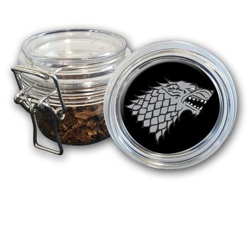 Airtight Stash Jar with Silicone Seal - Direwolf - Food-Grade Plastic with Locking Wire Top - Smell Proof Hermes Container