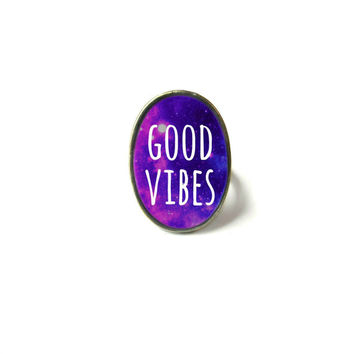 Galaxy Purple GOOD VIBES Adjustable Ring - Soft Grunge Pastel Goth Motivational and Inspirational Jewelry
