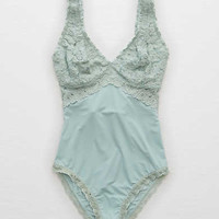 Aerie Real Soft® Bodysuit + Lace, Dusty Sage
