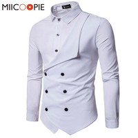 Men Shirt Brand Personality Double-breasted Fake Two Shirt Formal Solid Color Slim Fit Cotton Long Sleeve Dress Shirts Camisa