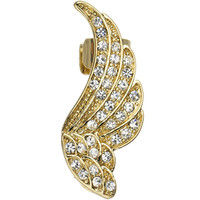 Clear Gem Gold Tone Guardian Angel Wing Ear Cuff Earring | Body Candy Body Jewelry