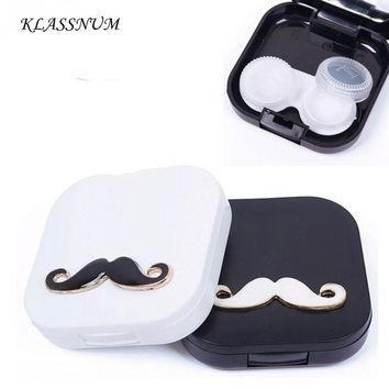 Good Lovers Cartoon Cute Beard Travel Glasses Contact Lenses Box Contact Lens Case for Eyes Care Kit Holder Container Gift