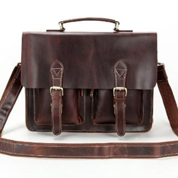 15 Inch Crazy Horse Leather Style Men's Coffee Briefcase Bag Handbag Laptop Bag Messenger Bag