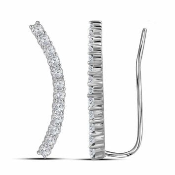 10kt White Gold Women's Round Diamond Climber Earrings 3-4 Cttw - FREE Shipping (USA/CAN)