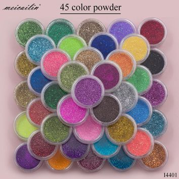 Meicailin 45 pcs/Set Sugar Acrylic Nail Glitter Powder Pigment Chrome Shining Holo Nailart Glitter Dust Mermaid Fine Powders