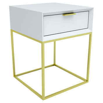 Seed Furniture, Soho One-Drawer Nightstand, White/Gold, Nightstands