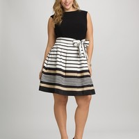 Plus Size Stripe Skirt Dress