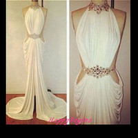 Mermaid Prom dress-  White beaded mermaid backless long slit prom dress/ evening party dress