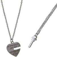 "Nickel Free 5/8 X 3/4"" Key To My Heart Pendant Necklace Set (2 Necklaces), USA!, in Silver Tone"