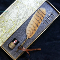 LL-10 Antique Owl Feather Metal Nibbed Pen Writing Quill