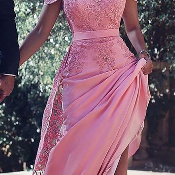 Pink Appliques Long Sweetheart Homecoming Dresses