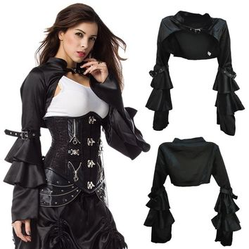 Black Satin Long Butterfly Sleeve Steampunk Jacket Coat Victorian Women Bolero Vintage Gothic Corset Sexy Costume Cosplay