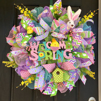 Spring wreath,Welcome Spring wreath,Spring Wreaths,Spring deco mesh wreath, spring mesh wreath,Easter mesh wreath, Front door wreath