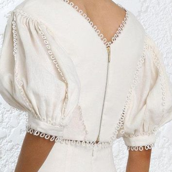 wishbop  short cream painted heart tear bodice tops v neck lace edge elbow length puff sleeves circles cuffs zip back