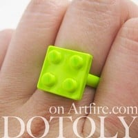Adjustable Lego Brick Ring in Lime Green