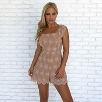 Scallop Eyelet Lace Romper In Mocha