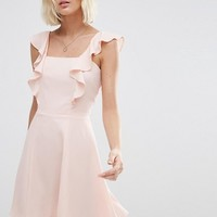 ASOS Skater Dress with Square Neck and Ruffle Detail at asos.com