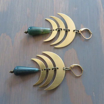Crescent Moon Earrings Moss Agate Green Stone Drop Triple Moon Chandelier Boho Bohemian Ear Jewelry