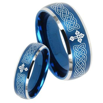 His Her Satin Blue Dome Celtic Cross Two Tone Tungsten Wedding Rings Set