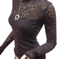 PattyBoutik Sexy Black Floral Lace Polo Neck Long Sleeve Blouse Top (Black S)