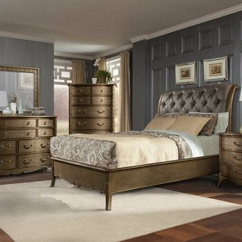 Home Elegance 1828-5PC 5 pc chambord collection champagne gold finish wood and dusty taupe faux silf tufted headboard bedroom set