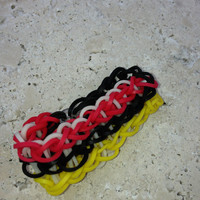 Triple Rainbow loom Black Red Yellow White Bracelet Rainbow Loom Bracelet Rainbow Loom Accessories Lanyard Gifts for her Gifts for Him Zipp