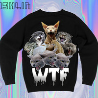 UNISEX WTF Angry Cats Ombre Slimepunk Sweatshirt.