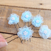 Blue Flower Wedding Hair Pins, Ivory Bridal Hair Pins, Hair Accessories, Organza Hair Pins, Bridesmaid Hair, Woodland - Set of 5